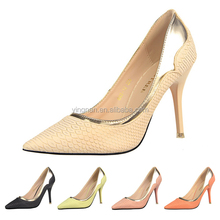 Vintage Style Fine With Shallow Mouth Pointed Toe High-heeled Shoes Sexy Serpentine Metal Mixed Colors Pumps Sexy Dress Shoes