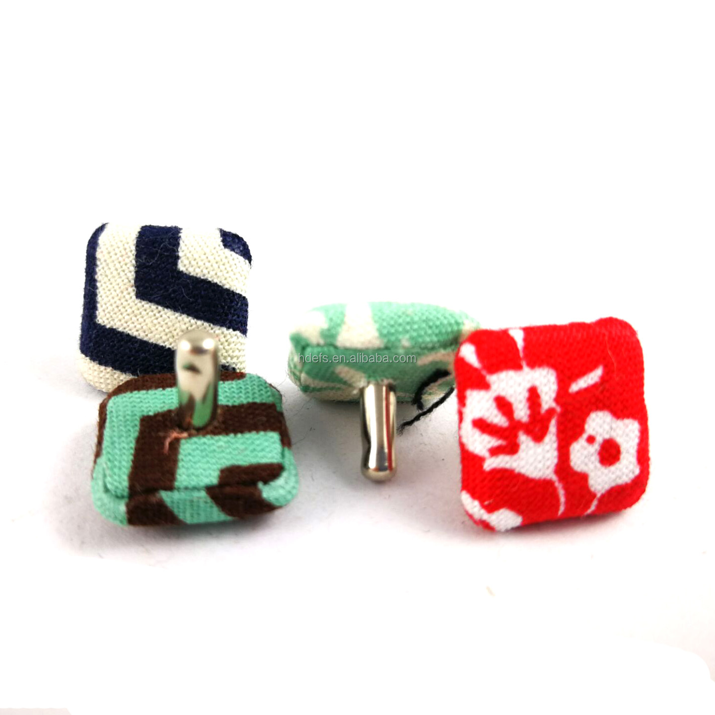 22mm square fabric covered snap button nail button