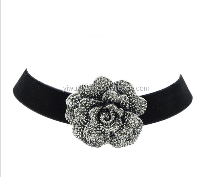 N53-<strong>097</strong> black wide korean velvet large grey rose flower ladies choker