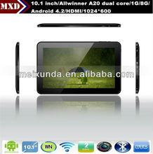 10.1 inch Allwinner A20 dual core 1G/8G android 4.2 tablet pc dual camera wifi tablet