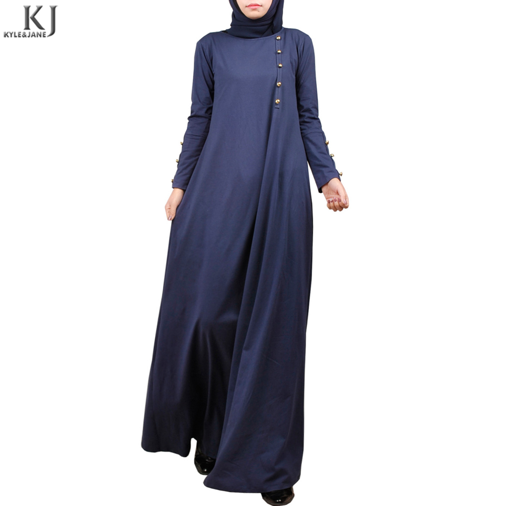 2018 unique style front vertical designed100% cotton buttoned latest muslim maxi dress abaya for turkey