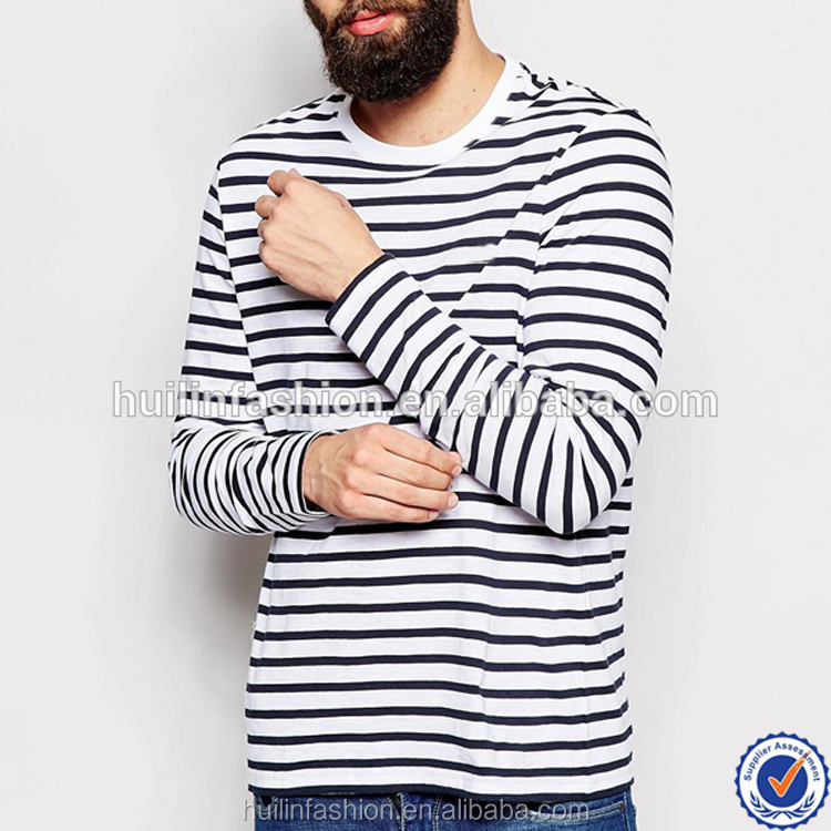 wholesale high fashion tall cheap men narrow black and white striped long sleeve t-shirt