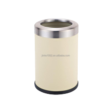 New Arrival Beige Stainless Steel Open Top Trash Cans Elegant 8L Garbage Bins GP-0034-3B