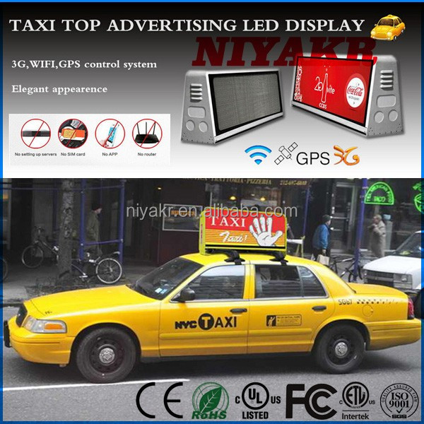 wifi 3g usb rj45 slim wireless programmable p5 led taxi top advertising signs