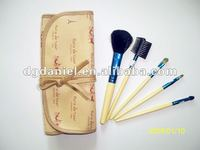 high quality 5pcs nylon hair wooden handle yellow colour makeup brush set