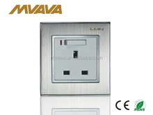 CE certified BS 3 pin electrical switch socket with satin silver metal frame