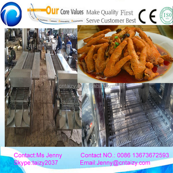 Large capacity chicken claw peeling machine/highest quality chicken feet cutting machine