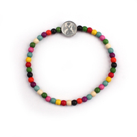Fashionable cancer awareness lapel charm wooden colorful beads bracelet