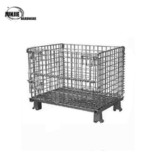 high quality folding metal/steel wire storage cage with wheels