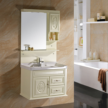 Light Mirror Floating PVC Bathroom Design Cabinet