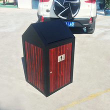 Wood and metal swing lid original manufacturer industrial steel waste bin