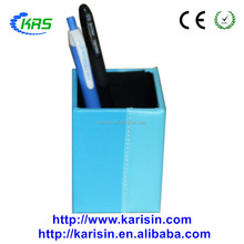 High quality double blue office leather square pen container with handmade