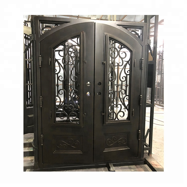High Quality OEM/ODM simple grill main front designs used exterior wrought iron <strong>doors</strong> for sale