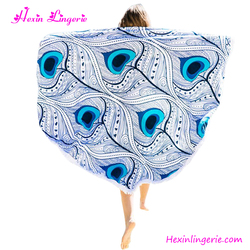 No moq printed peacock beach towel round for women