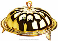 gold and silver plated pumpkin cover and plate