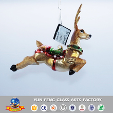 Wholesale hot sale deer shaped glass hanging christmas tree ornament