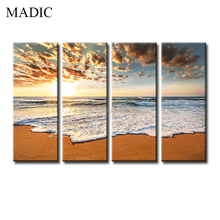 High Quality Giclee Canvas Printings 4 Piece Sea Beach Oil Painting the Wave on Beach Sunset Wall Pictures for Decor