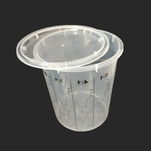 Plastic paint mixing cup with lids