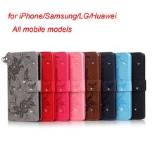 For Samsung Galaxy S5 i9600 G900 Flower rhinestone Studded Wrist Strap Leather Case for iPhone Samsung LG All Models
