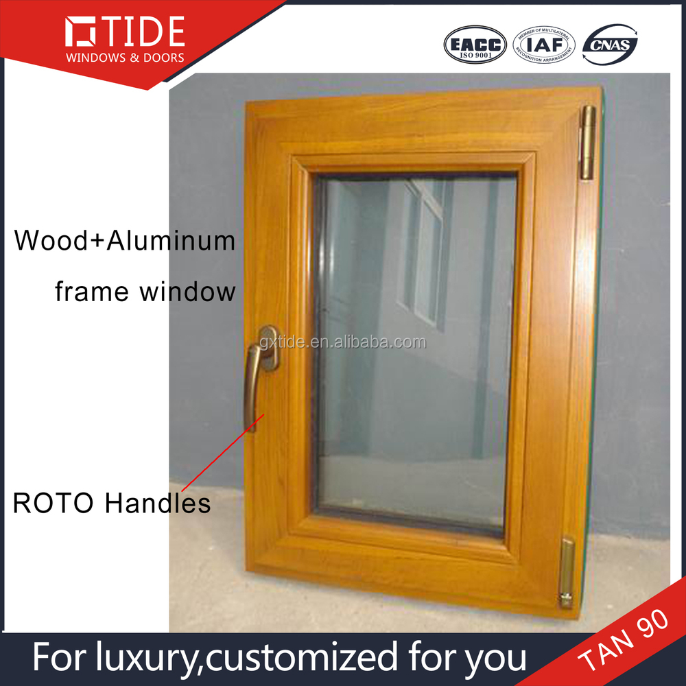 Doors&Windows frame of aluminum wood window with security fly screen