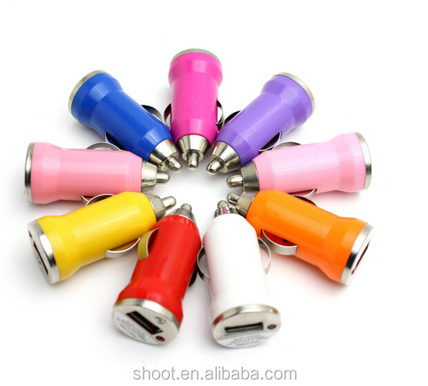 Colorful Custom Mini Bullet USB Car Charger for iphone 3G 4 S 5 5s 6 6s Samsung