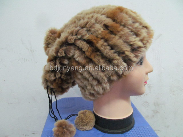 Winter warm knitted hat with fur pom beanie hat for women real fur cap