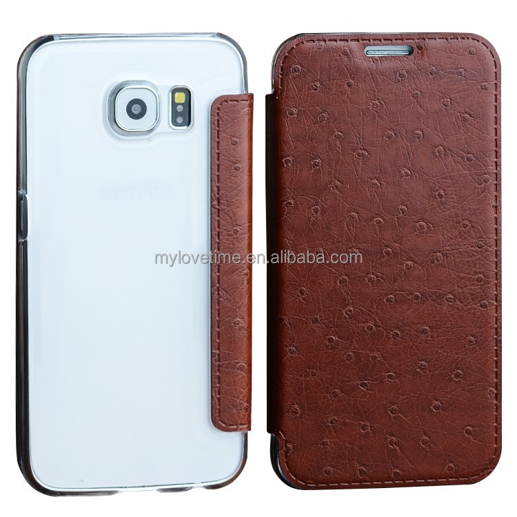 2015 leather mobile accessories wallet flip case for samsung S6