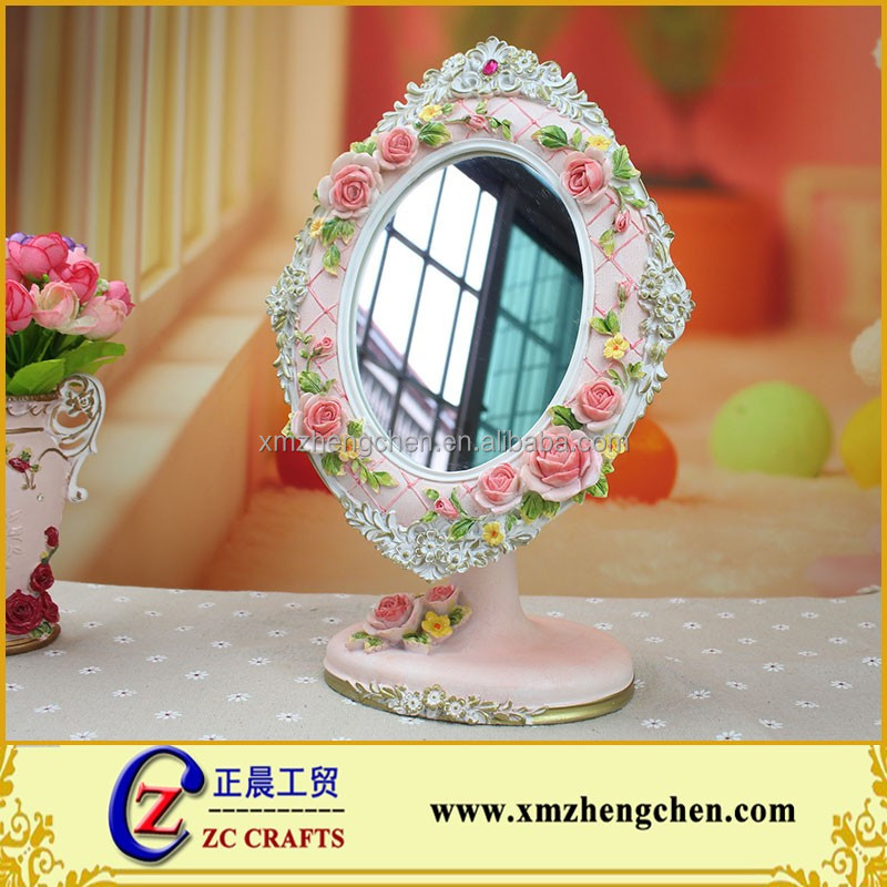 Korean Pastoral Engraved Flowers Hand-painted Resin Standing Carved Mirror Frame For Refined Home Wedding Decoration