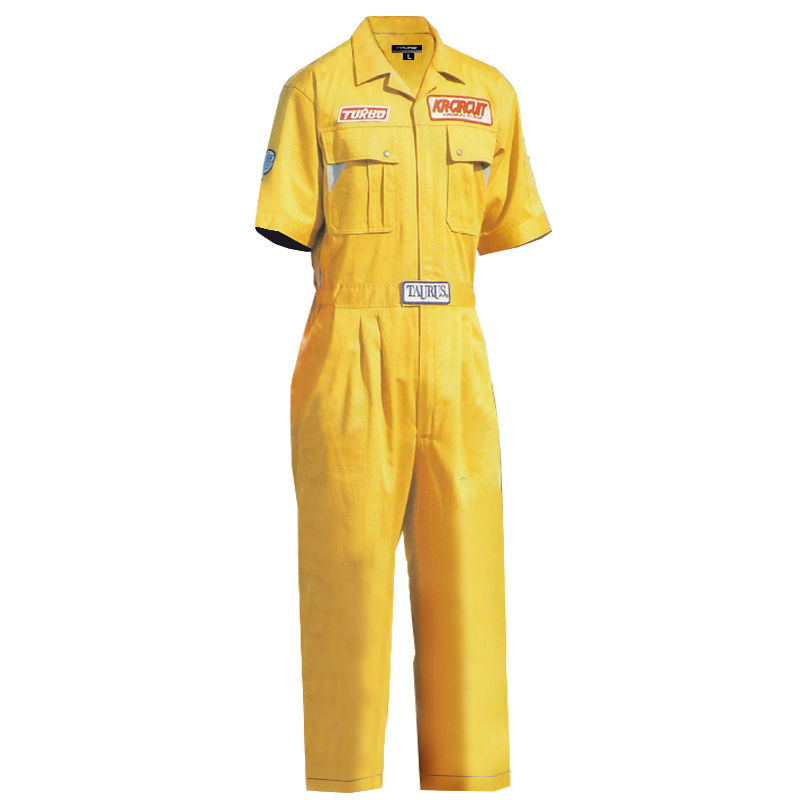 shortsleeve yellow coverall multi-pocket cotton work coverall safety coverall
