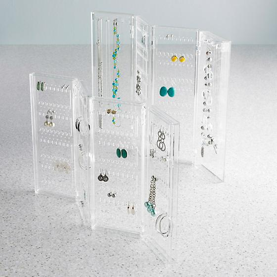 Clear Acrylic Foldable Earring Showcase Jewellery Display Holder Organizer