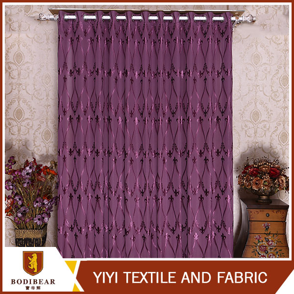China suppliers 2016 new Polyester jacquard purple ready made curtains