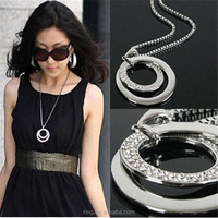 Long Chain Women Fashion Necklace Jewelry Crystal Rhinestone Chunky Silver Plated Double Circle Pendant Necklace
