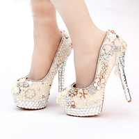 High Heel Ivory Pearl Bridal Shoes Wedding and Brideal Shoes with Tassel Lo Shape Evening Prom Party Platforms