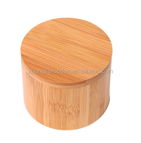 FSC&BSCI factory supply small round wood spice box with removable lid