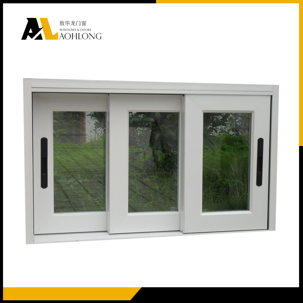 PVC triple pane sliding window with built-in handle