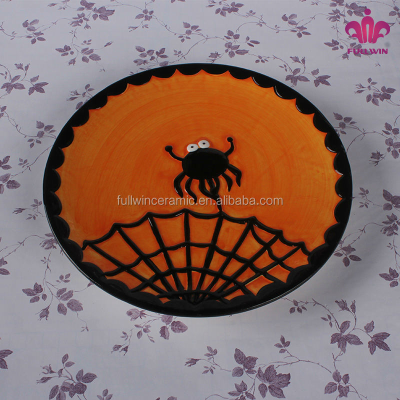 cheap price factory halloween decoration ceramic plates dishes with spider design buy ceramic plates dishescustom logo ceramic plates dishesdishes and - Halloween Ceramic Plates