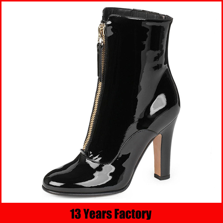 high end black patent leather sexy women boots
