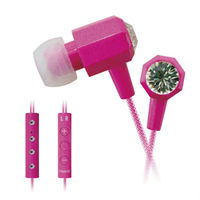 rhinestone earphone and headphone with mic & volume control COSMOPOLITAN