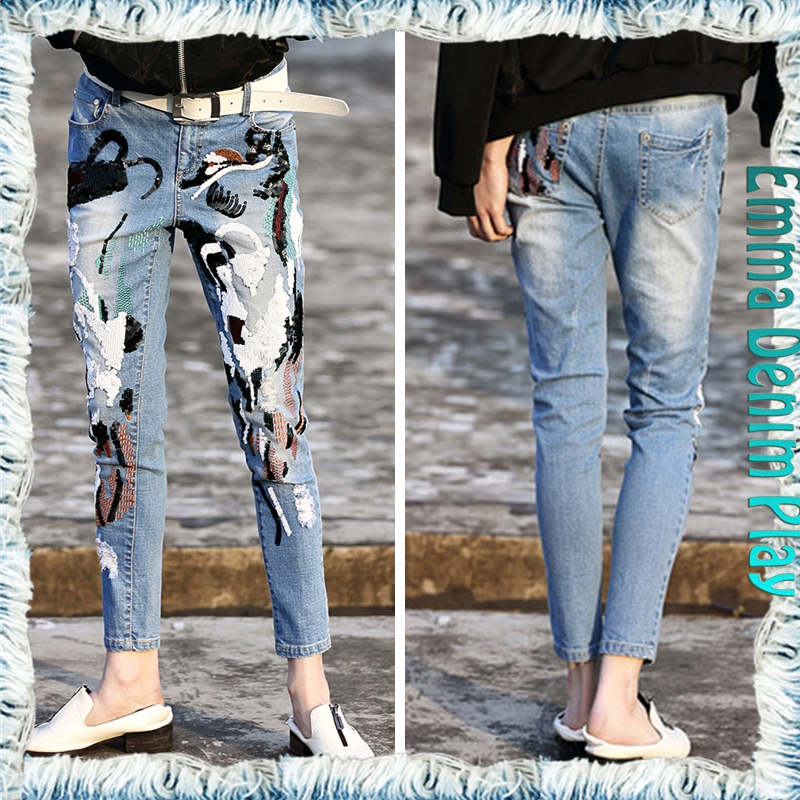 Woman's Sexy Slim Fit Sequin Decorated Distressed Denim Jeans