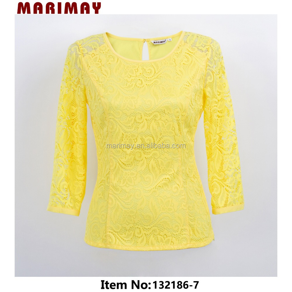 Clothing manufacturer sale elegant lace woman top and blouses 2015
