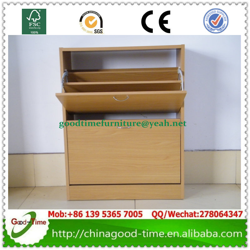 flat packing beech color wooden cabinet custom shoe rack, 2 door shoe cabinet