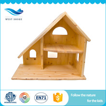 High quality educational toys handmade kids wooden doll house with furniture
