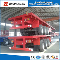 60TON flatbed semi trailers for sale/40ft flatbed container chassis