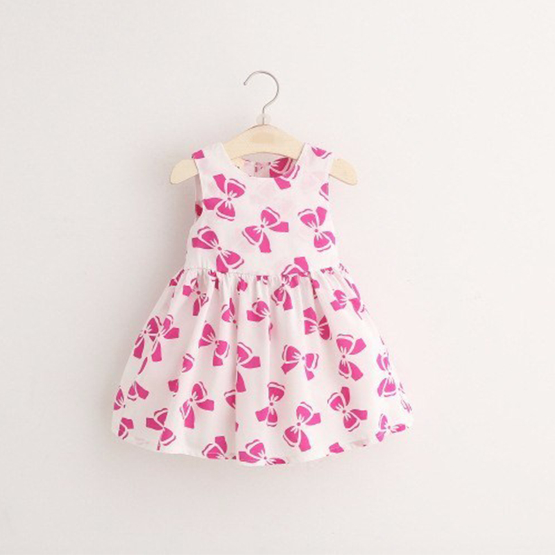 Child Girls Sleeveless Boutique Printing Cartoon Casual Lovely Fancy Dreses for Baby Girl