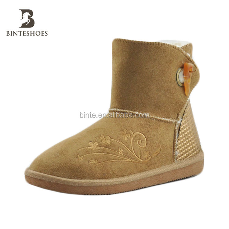 Fashion figured embroidery warm ladies Camel snow boots for factory price hot selling alibaba china market global glaze new prod