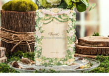 European Customized Printing 5116 Luxurious Flower Wedding Invitation Card