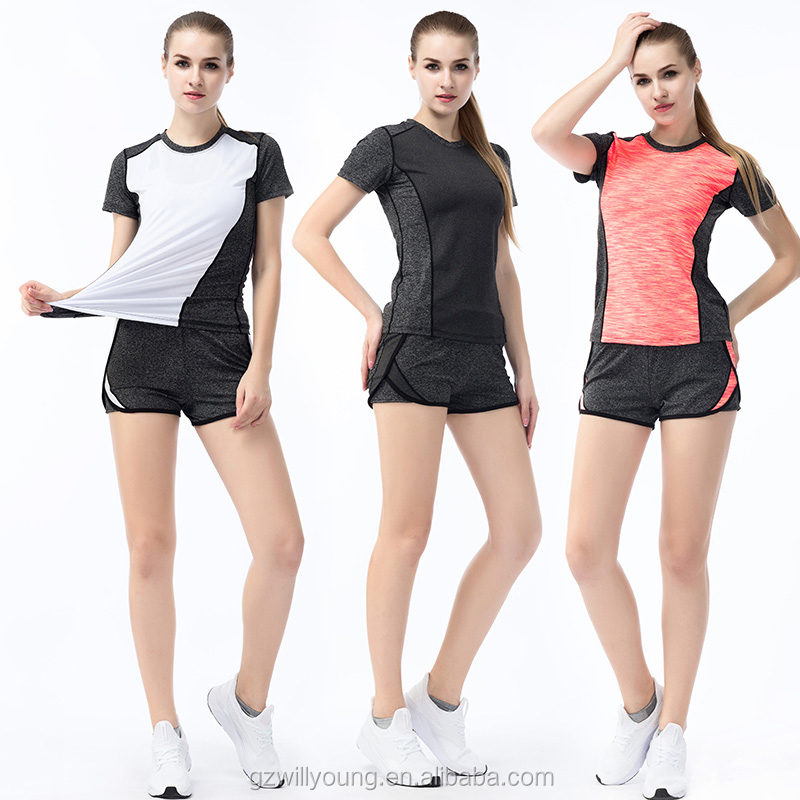 Quick-drying sport short sleeves breathable colorful T-shirt Fitness & Yoga Wear 3pcs/set