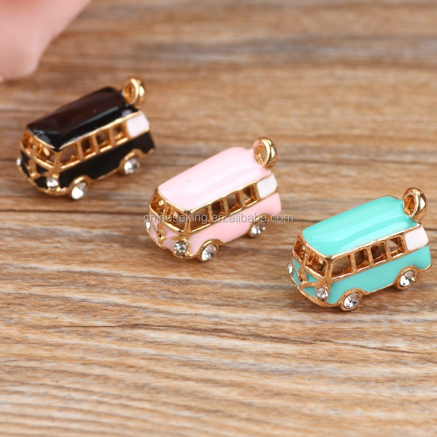 Alloy drop oil gold plated 3D Stereoscopic Cartoon Bus Car shape charms diy phone/key chain pendants jewelry making