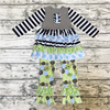 New Style Children's Garments Boutique Children Clothing Set And Stripe Printing Ruffle Outfit