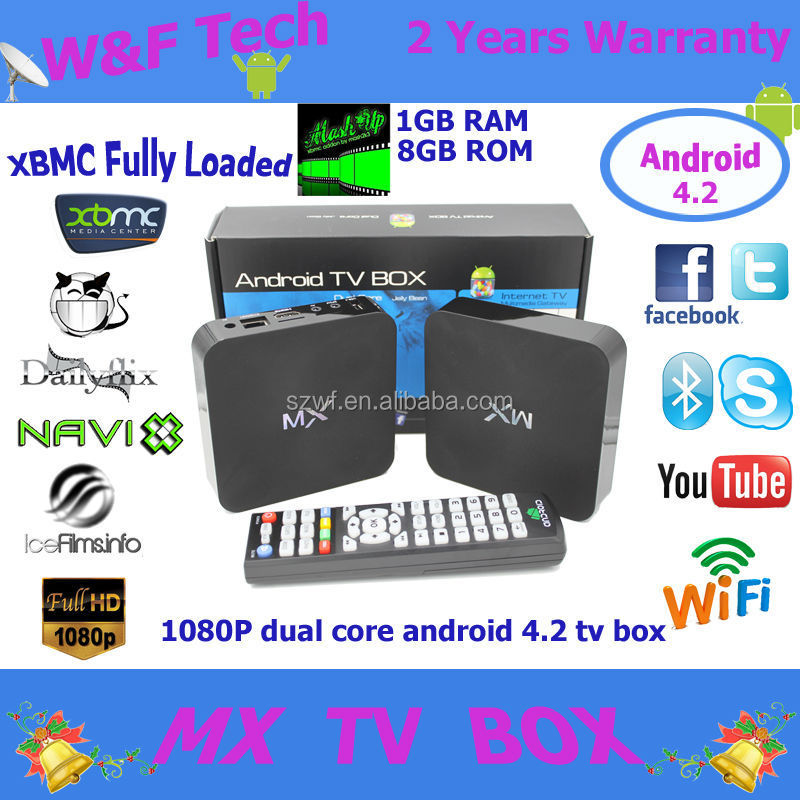 2015 Hot selling 1GB/8GB Android 4.2 TV BOX GBOX XBMC Pre Installed Dual Core Amlogic 8726 MX Android Smart TV BOX